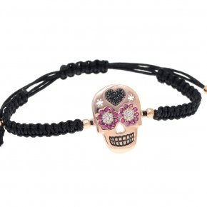 Bracelet silver 925 pink gold plated, black cord macrame and colored zirconia - Enigma