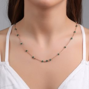Necklace with chain silver 925, pink gold plated, and crystals - Rosario
