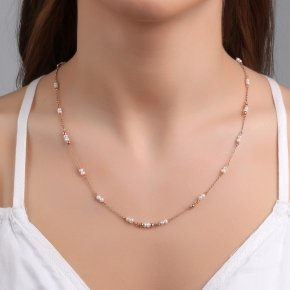 Necklace with chain silver 925, pink gold plated, crystals - Rosario
