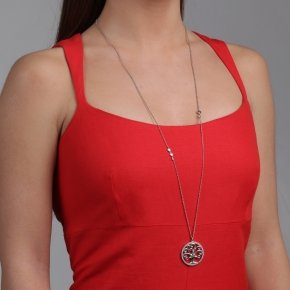 Necklace in silver 925, rhodium plated with white zirconia - Zoe