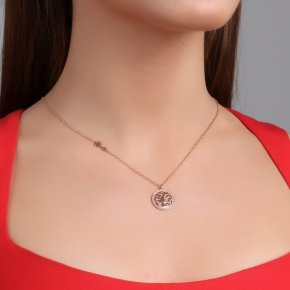 Necklace silver 925 pink gold plated & with white zirconia - Zoe