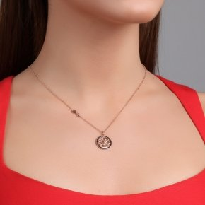 Chain necklace silver 925, pink gold plated and black spinels - Zoe
