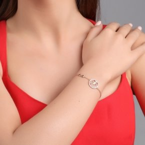 Bracelet silver 925 pink gold plated & with white zirconia - Zoe