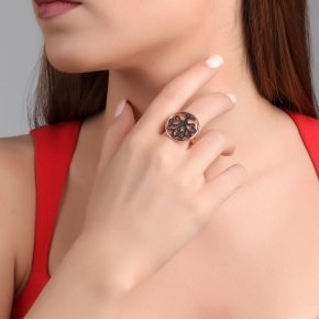 Ring silver 925 pink gold plated, and black spinels - Zoe