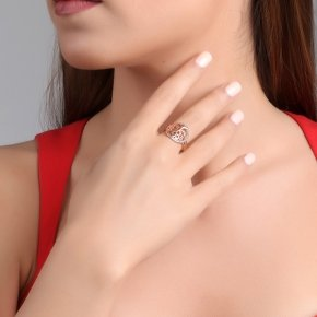 Ring Silver 925 pink gold plated with white zirconia - Zoe