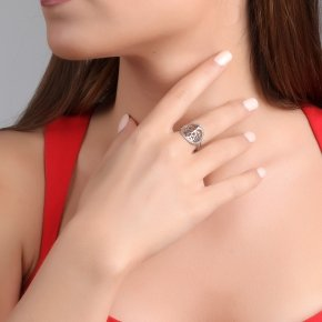 Ring silver 925 rhodium plated & with white zirconia - Zoe