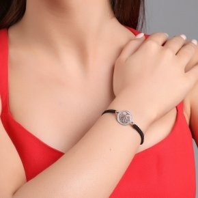 Cord Bracelet in silver 925 rhodium plated with white zirconia - Zoe