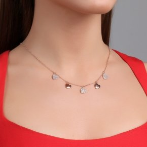 Necklace silver 925 pink gold plated & with white zirconia - Kardia