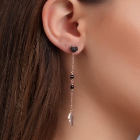 Earring silver 925 pink gold plated and black spinels - Dione