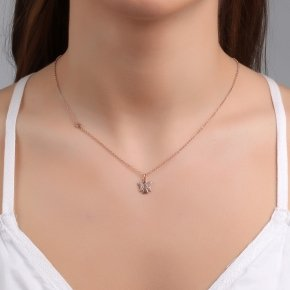 Necklace silver 925 lenght 40 cm (with extra 5cm exte) pink gold plated and white zirconia - Aggelos