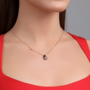 Necklace with chain silver 925, pink gold plated, and black spinels - Irida