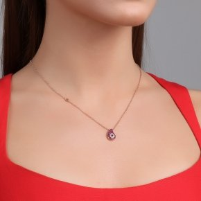 Necklace with chain silver 925, pink gold plated, and red zirconia - Irida