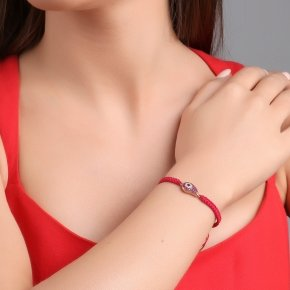 Bracelet with cord silver 925, pink gold plated, and red zirconia - Irida