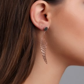 Earrings silver 925 with with big angel wings and black spinels - Aggelos