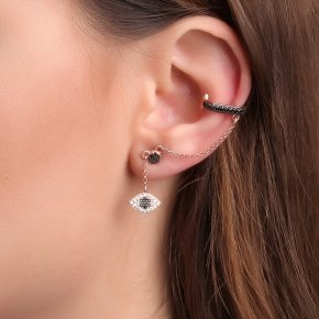 Earring silver 925 pink gold plated with black spinels - Dione