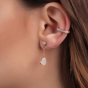 Earring silver 925 pink gold plated with white zirconia - Dione