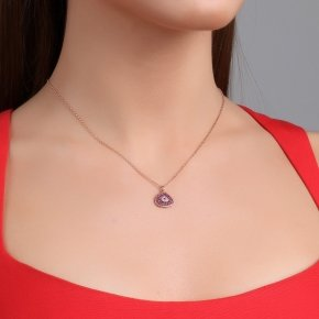 Necklace with chain silver 925, pink gold plated and red zirconia - Irida