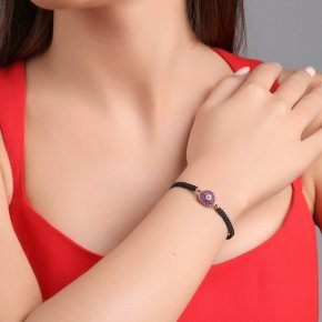 Bracelet with cord silver 925, pink gold plated and red zirconia - Irida