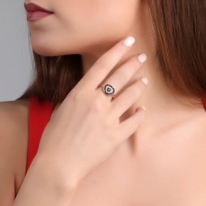 Ring silver 925 pink gold plated, black spinels and white zirconia - Irida