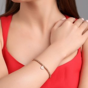 Bracelet silver 925, pink gold plated, and white zirconia - Kardia