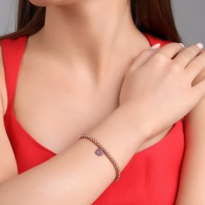 Bracelet silver 925, pink gold plated, and red zirconia - Kardia