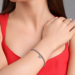Bracelet silver 925, rhodium plated and black spinels - Kardia
