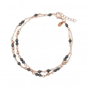 Bracelet silver 925, pink gold plated and hematite - Rosario
