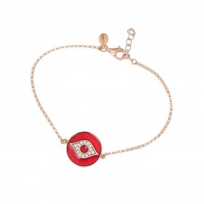 Bracelet silver 925 lenght 16,5 cm (with extra 2cm exte), pink gold plated, enamel and white zirconia - Aura