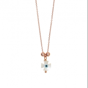 Necklace silver 925 lenght 40 cm (with extra 5cm exte), pink gold plated with cross-shaped evil eye - Fildisi