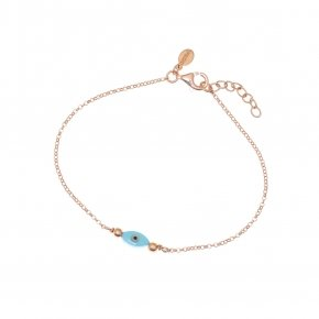 Bracelet silver 925 lenght 16,5 cm (with extra 2cm exte), pink gold plated and turquosie evil eye - Fildisi