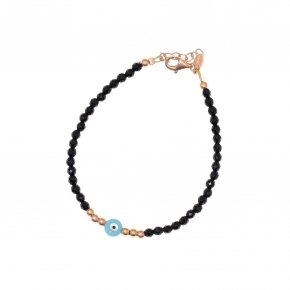 Bracelet in silver 925 pink gold plated with onyx and an eye made out of fildisi - Fildisi