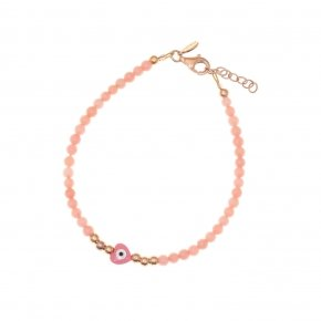 Bracelet silver 925 lenght 16,5 cm (with extra 2cm exte), pink gold plated, pink coral and pink evil eye - Fildisi