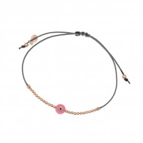Bracelet silver 925 with cord, pink gold plated and evil eye - Fildisi