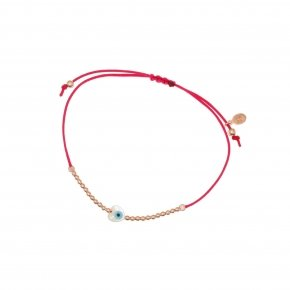 Cord Bracelet in silver 925 pink gold plated with an eye out of fildisi - Fildisi