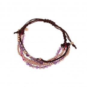 Bracelet silver 925, pink gold plated, purple crystals and cord - Outopia