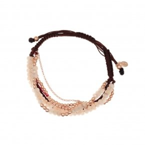 Bracelet silver 925, pink gold plated, pink crystals and cord - Outopia