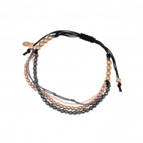 Bracelet silver 925, pink gold plated, hematite and cord - Outopia