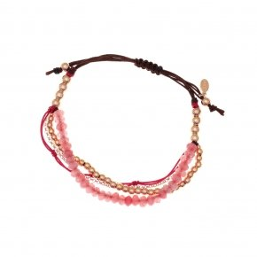 Bracelet silver 925, pink gold plated, fuchsia crystals and cord - Outopia