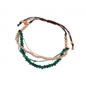 Bracelet silver 925, pink gold plated, green crystals and cord - Outopia