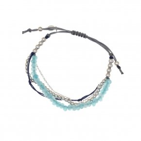 Bracelet silver 925, with white crystals and cord - Outopia