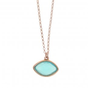 Necklace silver 925 lenght 40 cm (with extra 5cm exte), pink gold plated and light blue crystal - LITHOS