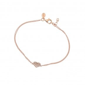 Bracelet silver 925 lenght 16,5 cm (with extra 2cm exte), pink gold plated and white zirconia - Eumelia