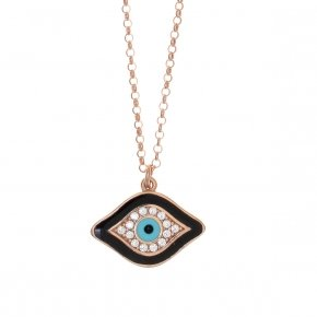 Necklace silver 925 lenght 40 cm (with extra 5cm exte), pink gold plated, white zirconia and enamel - Aura