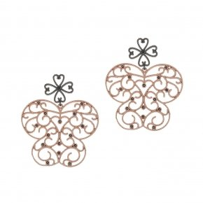 Earrings silver 925 pink gold plated and black zirconia - Pathos