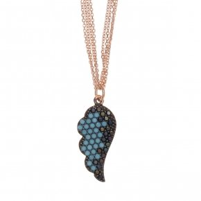 Necklace in silver 925, pink gold plated with black andturquise zirconia - Fantasia