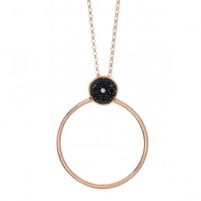 Necklace silver 925 pink gold plated & with black spinels - Votsalo