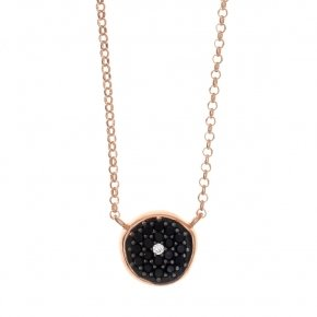 Necklace in silver 925, pink gold plated with blackspinel - Votsalo