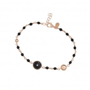 Bracelet silver 925, pink gold plated, black zirconia and onyx - Votsalo