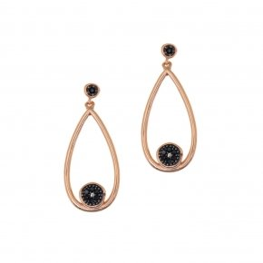 Earrings silver 925 pink gold plated & with black spinels - Votsalo