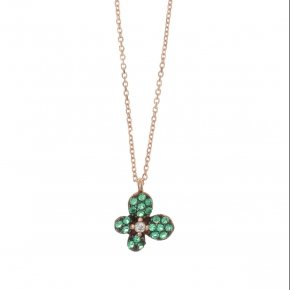 Necklace silver 925 pink gold plated and green zirconia - Manolia